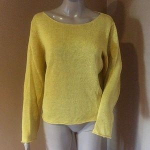 Eileen Fisher Mustard Yellow Linen Tunic Sweater S